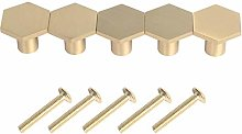 perfk Pack of 5 Antique Brass Hexagon Knobs