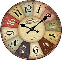 perfk Vintage Rustic Shabby Chic Wall Clock Home