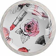 Perfume with Lipstick and Makeup Brush Round Knob