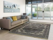 PERSIA GREY WELL WOVEN LARGE ORIENTAL FLORAL THICK