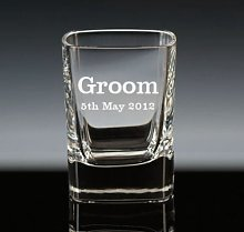 Personalised 2oz Square Crystal Shot Glass Groom