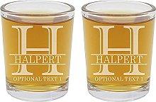 Personalised 2pk Etched Shot Glasses, Halper