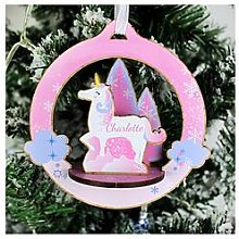Personalised 3D Unicorn Christmas Decoration