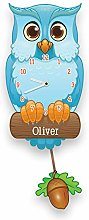 Personalised Bespoke Blue Owl Pendulum Wall Clock