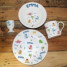Personalised Bone China Dinosaur Breakfast Se