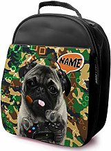 Personalised Childrens School Lunch Bag - Camo Pug