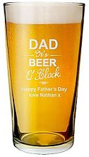 Personalised Dad It'S Beer O Clock Pint Glass