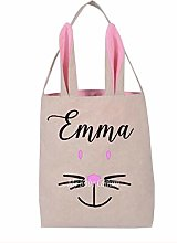 Personalised Easter Basket - Burlap Bunny Basket -