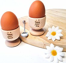 Personalised Egg Cups - x2 Pack - Wooden Easter