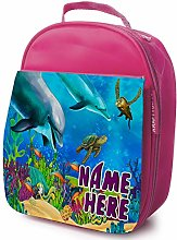 Personalised Girls School Lunch Bag - Dolphin