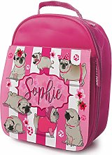 Personalised Girls School Lunch Bag - Funny Pug
