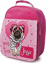 Personalised Girls School Lunch Bag - Pug Love