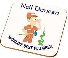Personalised Male Worlds Best Plumber Coaster Gift