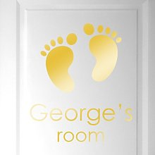Personalised Name Babies Birth Footprints Door
