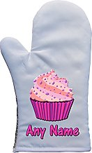 PERSONALISED PINK CUPCAKE PRINT OVEN MITT OVEN