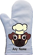 PERSONALISED PUG DOG WEARING CHEF HAT PRINT OVEN