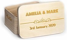 Personalised Wooden Box with Lid Engraved Name
