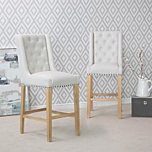 Perugia Natural Button Back Bar Stool With Studs