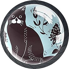 Pet Cat Blue Knobs for Dresser Drawers Decorative
