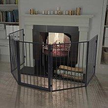 Pet Fireplace Fence Steel Black - Black
