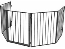 Pet Fireplace Fence Steel Black QAH09368 - Hommoo