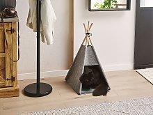 Pet Teepee Grey Felt 35 x 40 cm Cat Dog Tent with