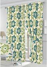 Petals eyelet curtains - Teal - 66x90'