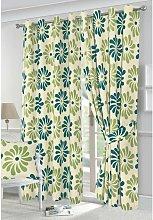 Petals eyelet curtains - Teal - 90x90'