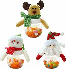 Petalum Pack of 3 Christmas Candy Jar, Elk Santa