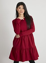 PETITE Berry Red Tiered Dress - 4