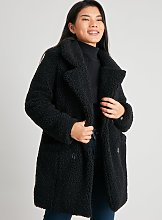 PETITE Black Double Breasted Teddy Coat - 16