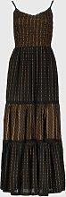 PETITE Black & Gold Tiered Maxi Dress - 12