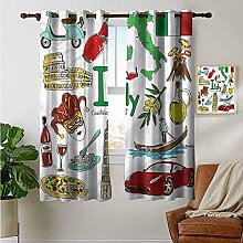 Petpany Bedroom Curtain Italy,Fun Colorful Sketch
