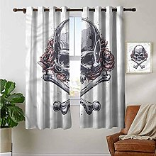 Petpany Bedroom Curtain Skull,Bones with Roses