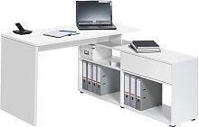 Petra Wooden Corner Computer Desk In Icy White