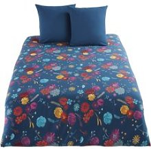 Petrol Blue Cotton Bedding Set with Multicoloured