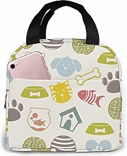 Pets Icons Beige Background Portable Lunch Cooler