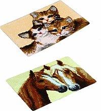 PETSOLA 2 Set Cats Horse Pattern Latch Hook Rug