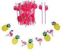 PETSOLA 25x Drinking Straws Flamingo Pineapple