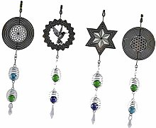 PETSOLA 4pcs Metal Wire Wind Chimes With Beads