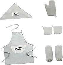 PETSOLA Kitchen Set 8pc Apron Baking Oven Gloves