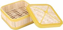PETSOLA Square Food Cooking Basket Bamboo Steamer