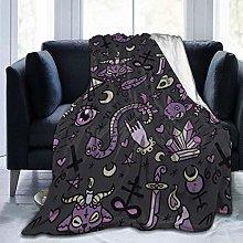 Peyolad Purple Black Goth Spooky Printing Blanket