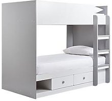 Peyton Storage Bunk Bed with Mattress Options (Buy and SAVE!) - White/Grey - Bunk Bed Only, Grey
