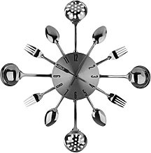 PH Chrome Cutlery Kitchen Wall Clock Utensil Funky