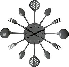 PH Grey Cutlery Kitchen Wall Clock Utensil Funky