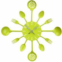 PH Lime Green Cutlery Kitchen Wall Clock Utensil
