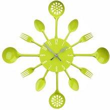 PH Lime Green Cutlery Kitchen Wall Clock Utensil
