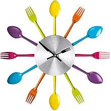 PH Multi Colour Cutlery Kitchen Wall Clock Utensil