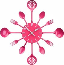PH Pink Cutlery Kitchen Wall Clock Utensil Funky